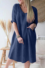 Casual V-neck Pockets Shift Midi Dress