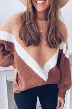 Color Block Crew Neck Casual Knitted Sweater