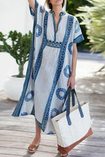 Print V-neck Short Sleeves Holiday Maxi Dress