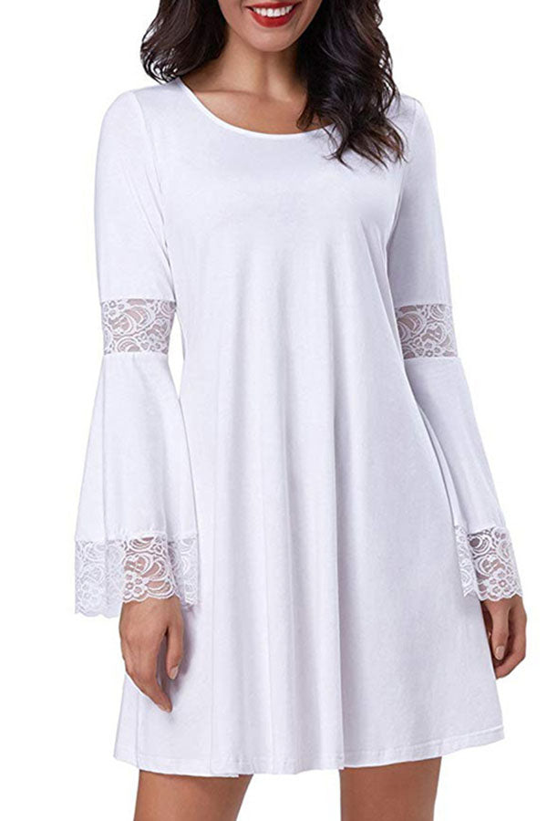 Paneled Solid Lace Bell Sleeves Elegant Mini Dress