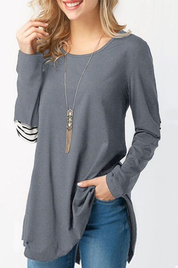 Paneled Striped Buttoned Irregular Slit Hem Blouse