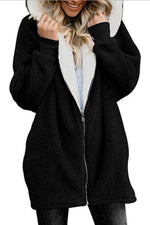 Zip Front Side Pockets Fluffy Hooded Coat