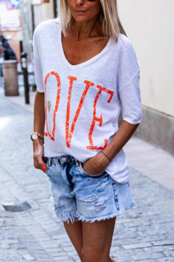 Letter Print V-neck Casual Half Sleeves T-shirt