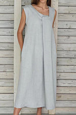 Paneled Solid Asymmetric Neck Casual Midi Dress