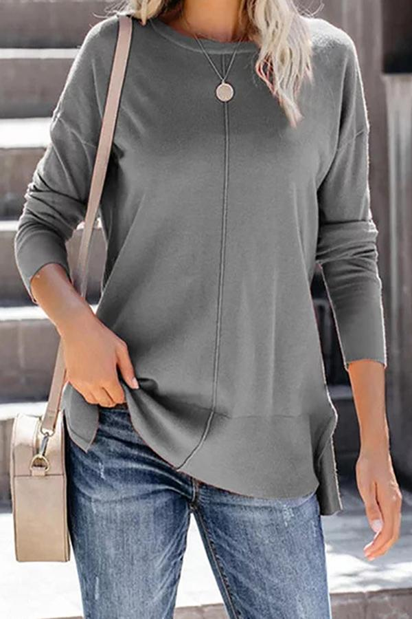 Casual Solid Crew Neck Slit Blouse