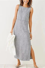 Women Crew Neck Slit Side Shift Striped Dress