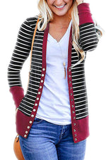 Casual Striped Paneled Long Sleeves Coat