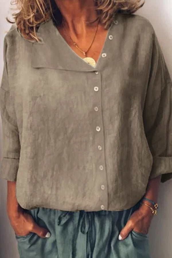 Asymmetric Buttons Down Neck Solid Blouse