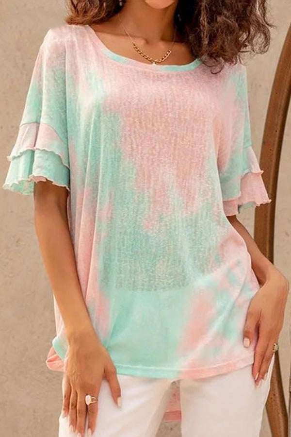 Gradient Print Paneled Hollow Out Casual T-shirt