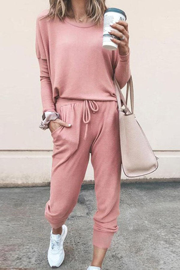 Casual Solid T-shirt With Pants Two-pieces Set