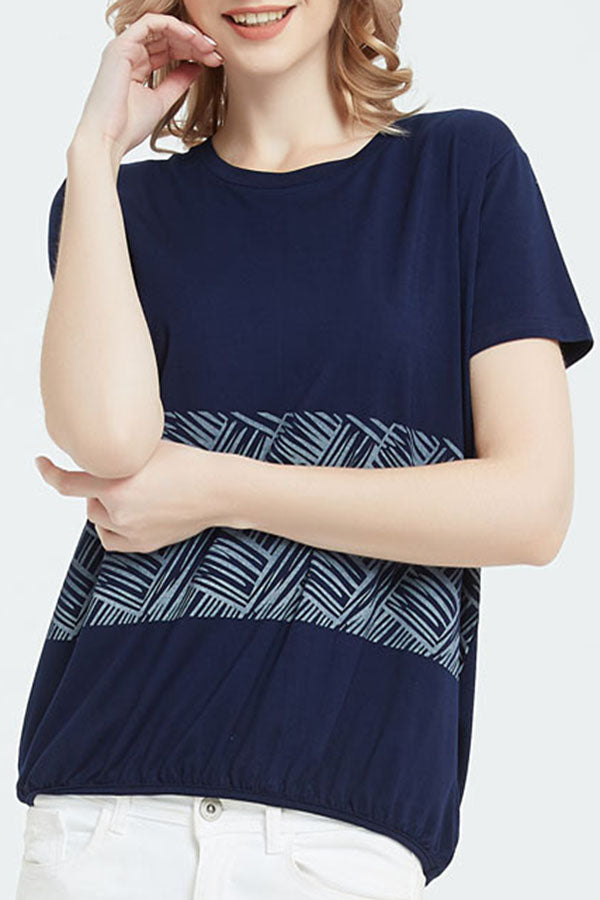 Print Casual Short Sleeve Elastic Hem T-shirt