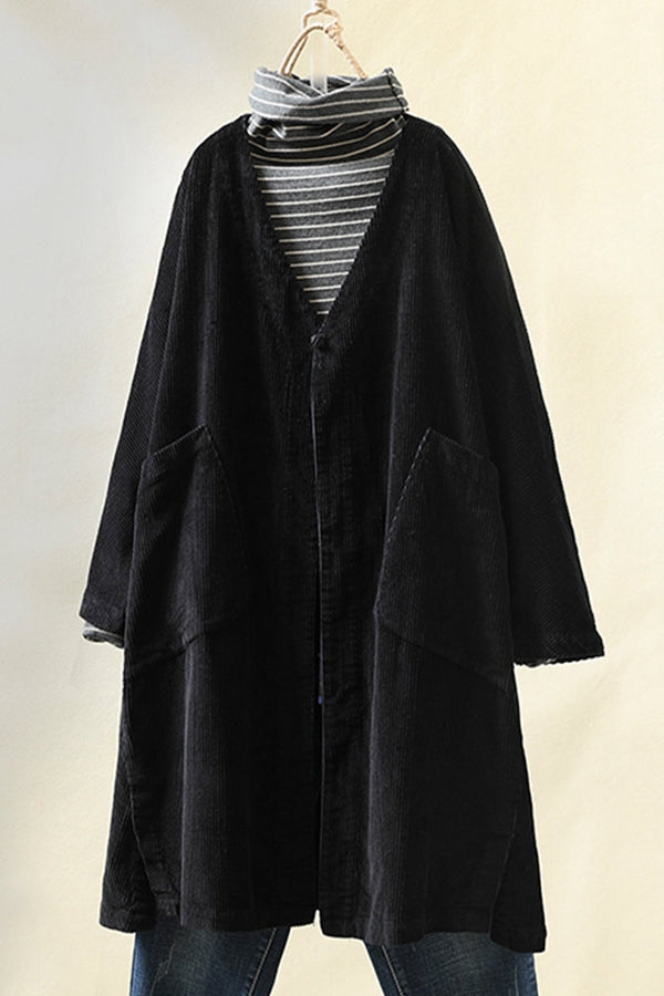 Paneled Solid Ribbed Side Pockets Buttoned Coat