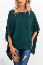 Solid Batwing Irregular Hem Casual T-shirt