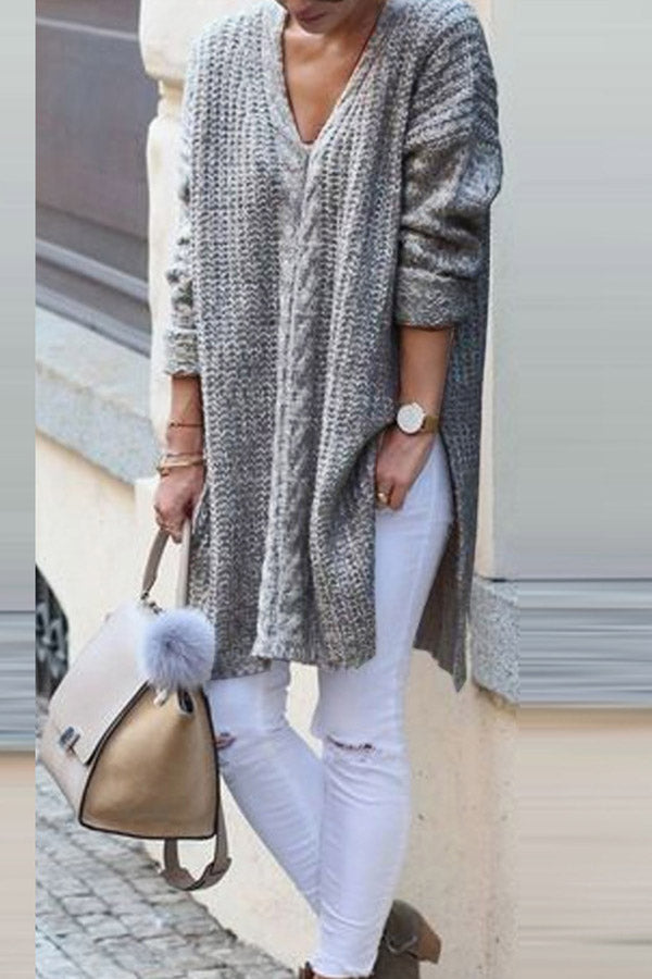 V Neck Solid Long Sleeves Sweater