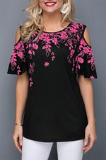 Floral Print Cold Shoulder Casual T-shirt