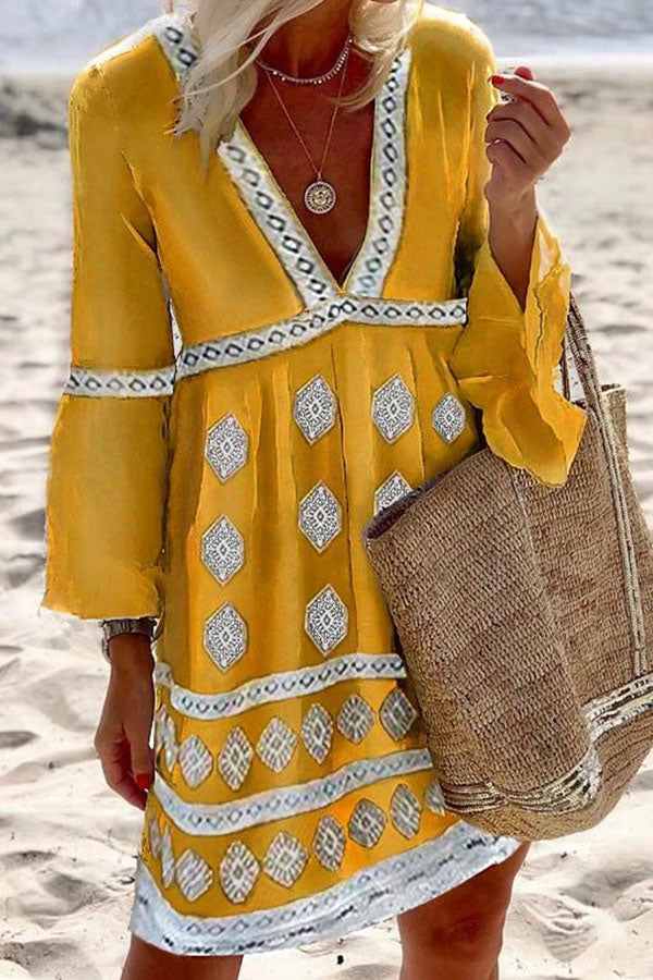 Bohemian Print Bell Sleeve Holiday Mini Dress