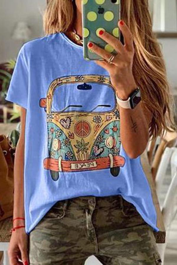 Bus Print Casual Crew Neck Short Sleeves T-shirt