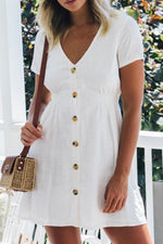 Elegant Solid Paneled Buttoned Pleated Mini Dress