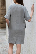 Paneled Solid V-neck Pockets Casual Mini Dress