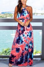 Gradient Print Paneled Holiday Maxi Dress