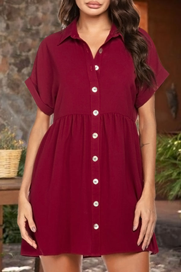 Solid Buttoned Paneled Pleated Casual Mini Dress