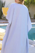 Paneled Solid Batwing Plunging Neck Maxi Dress