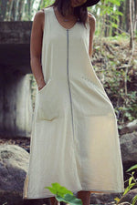 Solid Paneled Sleeveless Pockets Casual Maxi Dress