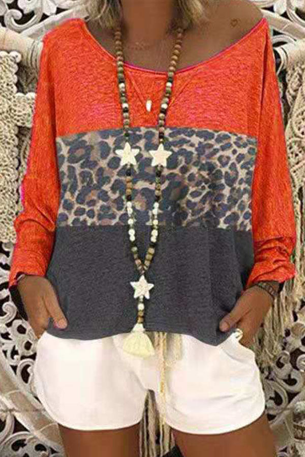 Color-block Leopard Print Crew Neck Casual T-shirt
