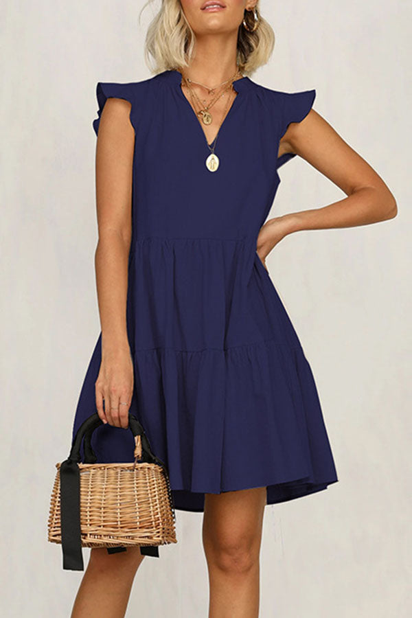 Solid Paneled Frill Sleeveless Casual Mini Dress