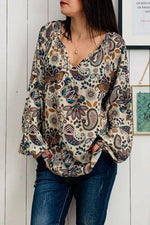 Floral Printed V Neck Balloon sleeves T-shirts
