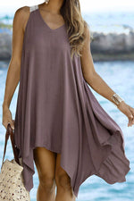 Paneled Solid Irregular Hem Holiday Mini Dress