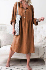 Button Down Adjustable Sleeves Midi Dress