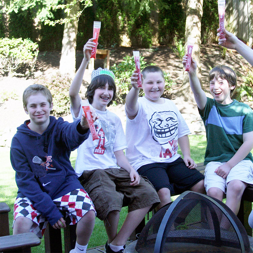 group of boys with Zipzicle ice pops