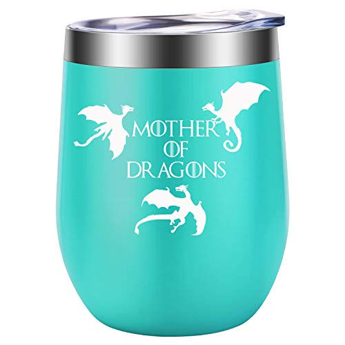 Mother of Dragons - Funny GOT Merchandise, Unique Birthday, Christmas Gifts for Women - Wine Gift Ideas for Her, Best Friend BFF, Wife, Mom, Daughter, Sister, Aunt, Coworker - LEADO Wine Tumbler Cup
