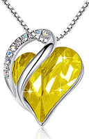 "Leafael ""Infinity Love Heart Pendant Necklace Made with Swarovski Crystals Birthstone Jewelry Gifts for Women, Silver-Tone, 18""+2"", Presented by Miss New York"