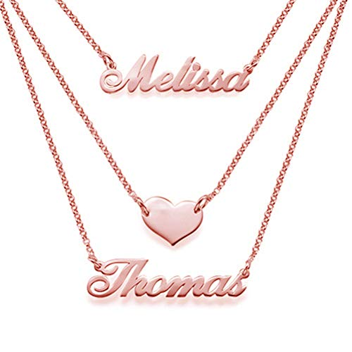 KIKISHOPQ Layered Necklace Love Necklace Customize Names Give Girlfriend The Best Gift