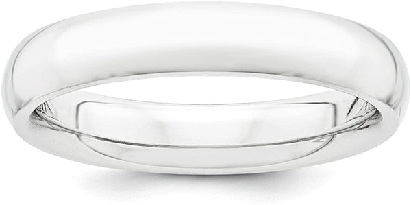 Platinum 4mm Half Round Comfort Fit Lightweight Wedding Ring Band Size 9.50 Classic Domed Fashion Jewelry For Women Gifts For Her