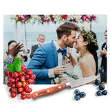 Custom Photo Kitchen Signs for Couples Watercolor - 8 x 11 Tempered Glass Cutting Board - Add Photo, Logo, Picture on Cutting Board - Wedding Gifts for the Couple, Housewarming Gift, Custom Gifts