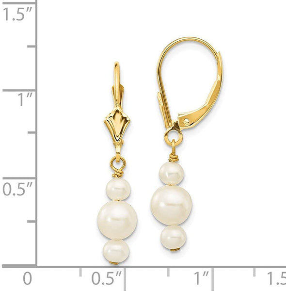 14k Yellow Gold 3 3.5mm 5 5.5mm Semi Round Freshwater Cultured Pearl Leverback Drop Dangle Chandelier Earrings Lever Back Fine Jewelry For Women Gifts For Her