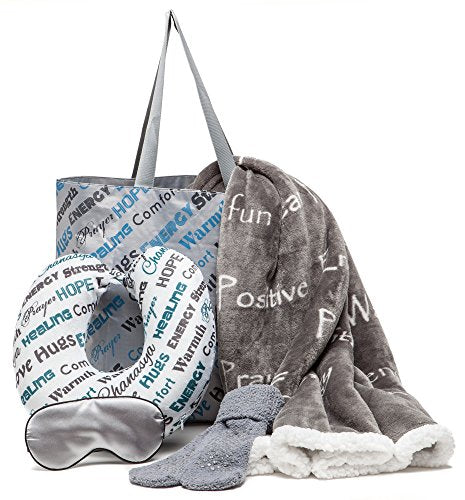 Chanasya 5-Piece Warm Hugs Positive Energy Healing Thoughts Combo Gift Pack Throw Blanket - Comfort Caring Message, Neck Pillow, Eye Mask, Tote Bag, Socks - for Women Men Cancer Hospital - Grey