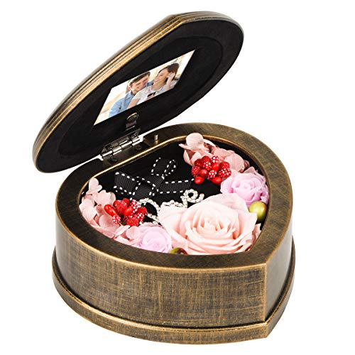 EINID Handmade Preserved Rose Flower,Never Withered Rainbow Roses,Everlasting Rose Gift for Her Like Grandma,Wife,Girlfriend,Daughter on Valentines Day,Anniversary or Birthday (Gold Rainbow)