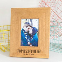 Personalized Picture Frame - Valentine's Day Gifts for Fiance Husband Wife Him Her - Wedding Engagement Anniversary Gift for Couples