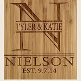 Personalized Cutting Board for Wedding Gifts - Wood Cutting Boards, Also Bridal Shower and Housewarming Gifts (8.5 x 11 Two Tone Bamboo with Curved Edges, Jenson Design)
