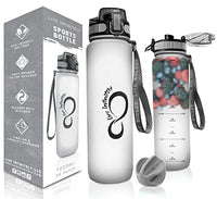 Live Infinitely 34 oz BPA Free Water Bottle with Time Marker, Fruit Infuser Screen & Shaker Blending Ball - Locking Flip Top Lid & Durable Rubberized Bottle Coating