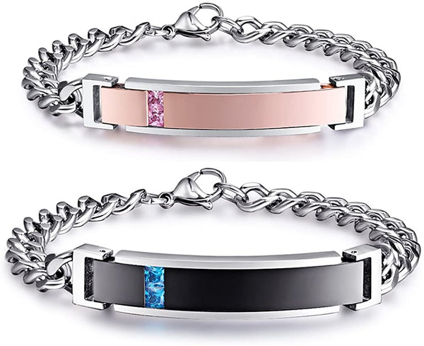NEHZUS Couples Bracelets His and Hers Stainless Steel Personalized Bracelet Custom Engraving