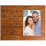LifeSong Milestones Personalized Fifteen Year for her him Couple Custom Engraved Wedding Gift for Husband Wife Girlfriend Boyfriend Photo Frame Holds 4x6 Photo (Black)
