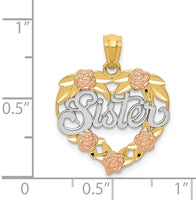 14k Two Tone Yellow Gold Sister Heart Pendant Charm Necklace Love S/love Message Fine Jewelry For Women Gifts For Her