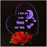 Giftgarden Mom I Love You to The Moon and Back Heart Shaped Cake Toppers LED Wedding Gift, Mother Gift, Grandma Gift, Friends Gifts