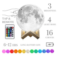 Moon Lamp, mono living, 16 Colors 3D Print Moon Light (7.1inch) LED with Stand, Remote Control, Baby Night Light Valentines Birthday Gifts Family Couple Daughter Mother Teen Girl Boyfriend Girlfriend