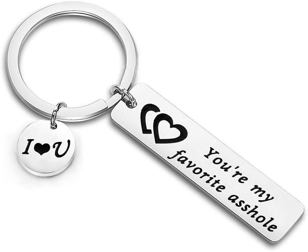 Zuo Bao Funny Couple Keychain You're My Favorite Asshole/Bitch Jewelry for Her Boyfriend Gift Husband Keyring